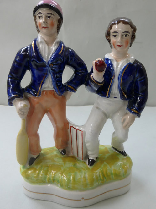 UNUSUAL 19THC STAFFORDSHIRE OF 2 CRICKETERS