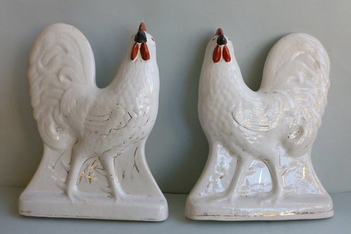 PAIR 19THC STAFFORDSHIRE WHITE COCKERELS POSSIBLY SCOTTISH