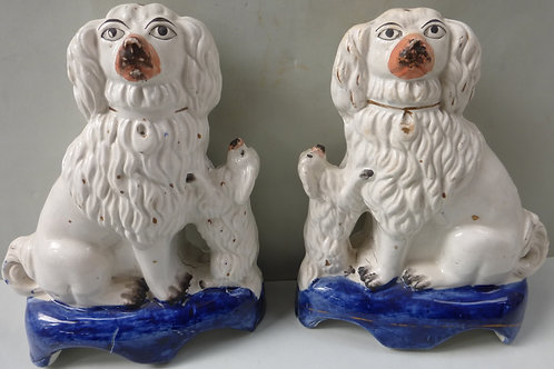 PAIR 19THC. STAFFORDSHIRE LION DOGS # 3474