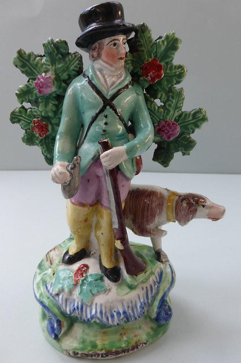 19THC STAFFORDSHIRE PEARLWARE OF SPORTSMAN