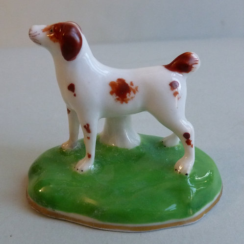 19THC STAFFORDSHIRE PORCELLANOUS GROUP OF TERRIER