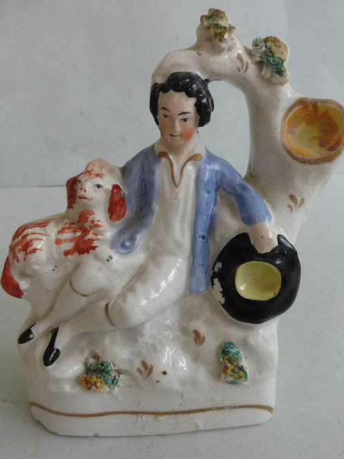 19TH CENTURY MINIATURE STAFFORDSHIRE OF BOY WITH DOG
