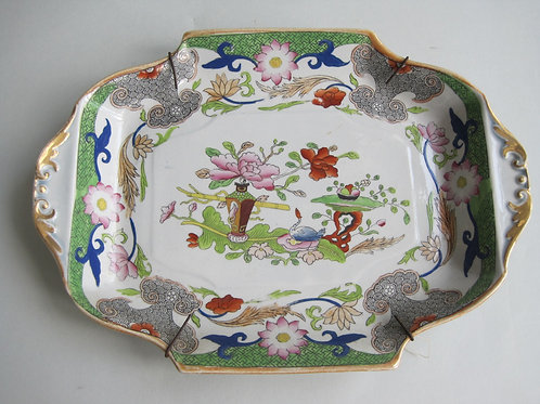 19THC MASONS IRONSTONE FLOWERPOT AND TABLE PATTERN DISH