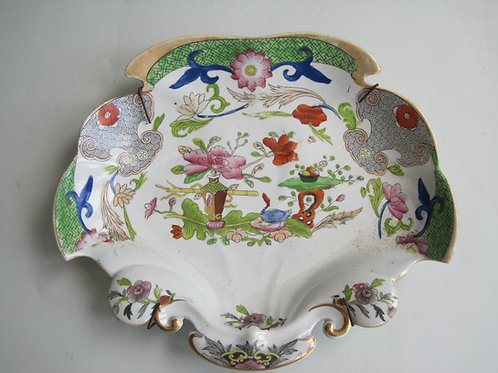 MASONS IRONSTONE FLOWERPOT AND TABLE PATTERN DESSERT DISH