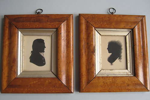 ENGLISH SCHOOL - PAIR EARLY 19THC SILHOUETTES IN MAPLE WALNUT FRAMES