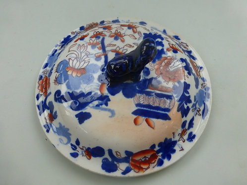 MASONS IRONSTONE IMARI PATTERN TUREEN LID WITH DOG OF FO FINIAL C.1830