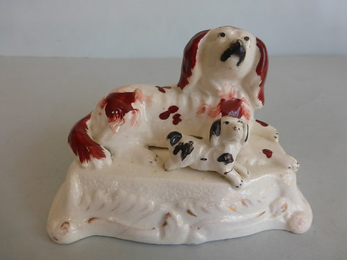 19th. Porcellanous Staffordshire Spaniel & Pup Ref. # 4182
