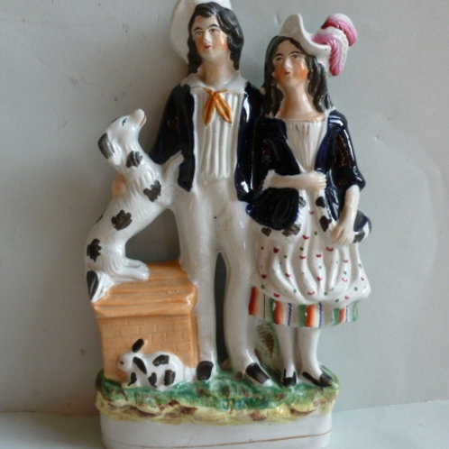 19THC STAFFORDSHIRE OF BOY AND GIRL WITH RABBITS