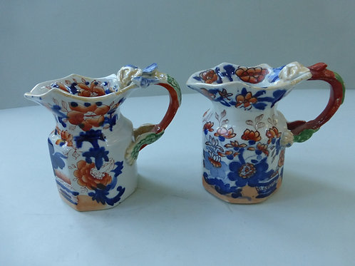 2 OFF MASONS IRONSTONE FENTON SHAPED JUGS IN IMARI PATTERN