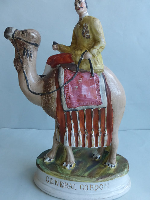 VERY RARE 19THC STAFFORDSHIRE OF GENERAL GORDON ON CAMEL