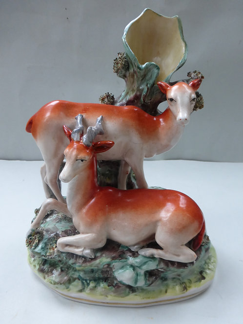 19THC. STAFFORDSHIRE FIGURE OF STAG & DOE PARR
