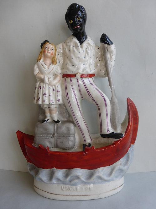 Unusual 19thc. Staffordshire Uncle Tom & Eva aboard a boat Ref # 4545