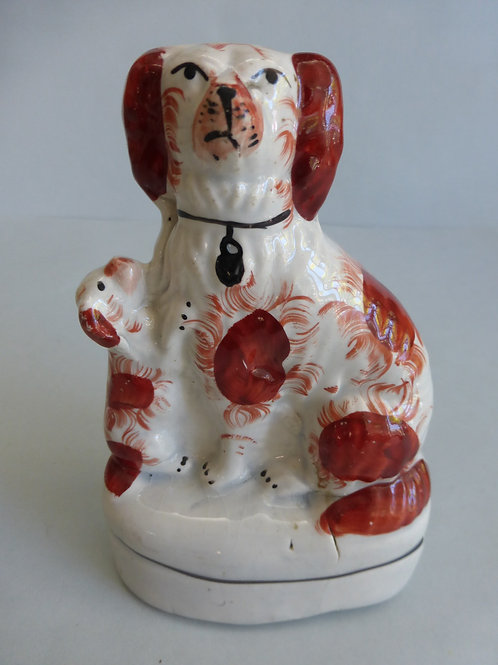 SMALL 19THC. STAFFORDSHIRE DOG AND PUPPY C.1850
