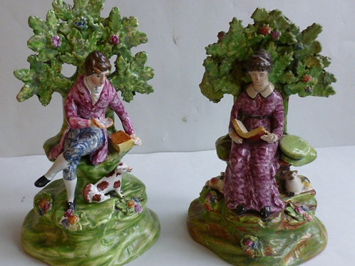matched pair of 19thC STAFFORDSHIRE PEARLWARE BOCAGE FIGURES