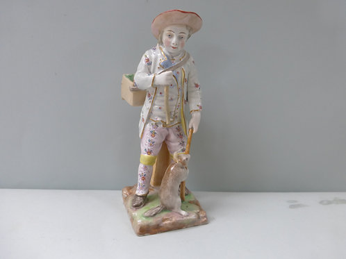 19THC PASSAU FIGURE OF A STREET ENTERTAINER WITH BEAR