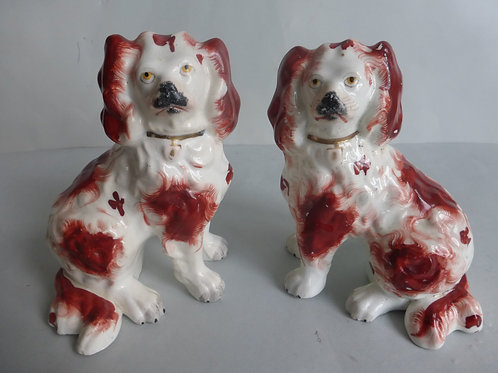 Pair 19thc. Staffordshire Porcellanous Dogs, separate legs. c.1840 Ref # 4428
