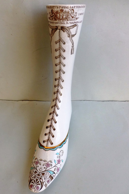 RARE PATENTED 19THC STAFFORDSHIRE BOOT DRYER AND WARMING LAST