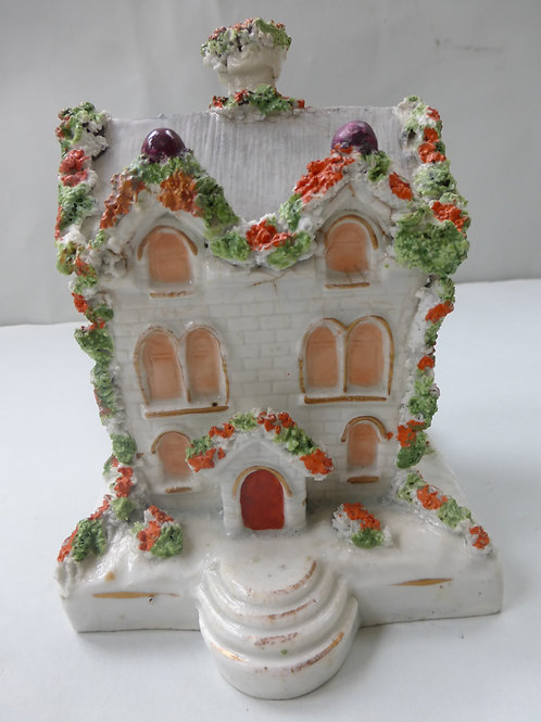 19THC. STAFFORDSHIRE POTTERY COTTAGE