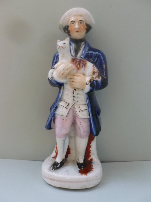 19THC STAFFORDSHIRE OF MAN WITH CAT
