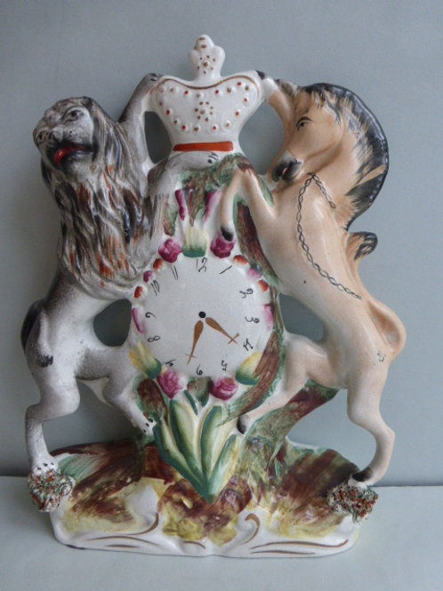 19THC STAFFORDSHIRE FIGURE OF ROYAL COAT OF ARMS