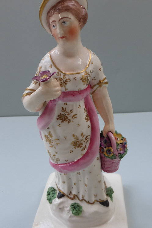 19THC. STAFFORDSHIRE PORCELLANOUS FIGURE OF SPRING