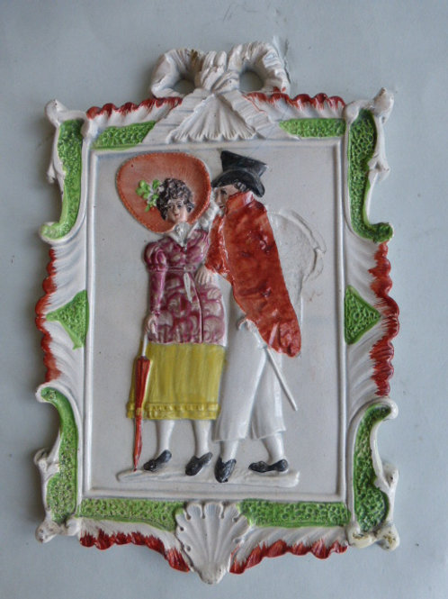 EARLY 19THC PEARLWARE POTTERY PLAQUE OF 2 DANDIES