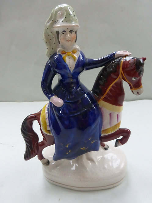 RARE 19THC. STAFFORDSHIRE QUEEN VICTORIA ON HORSE