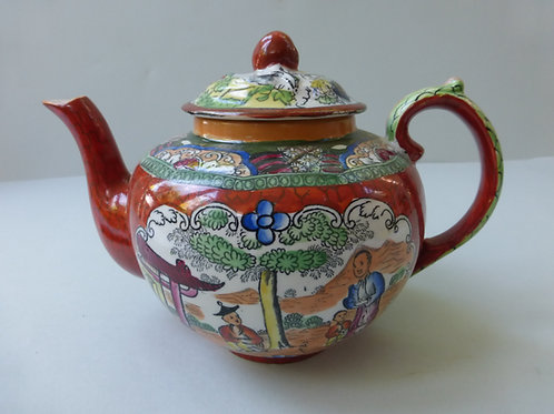 RARE 19THC MASONS RED SCALE PATTERNED TEAPOT