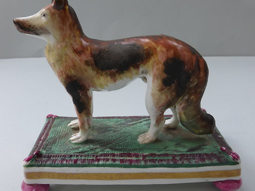 RARE 19THC. PORCELLANOUS STAFFORDSHIRE NORTH AMERICAN INDIAN HARE HOUND C.1840