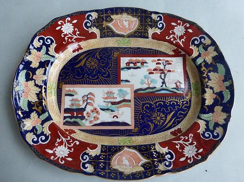 "Late 19thc. Masons/Ashworth Double Landscape Meat Platter 13.5"" Ref # 4505"