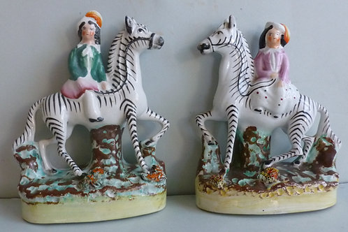 PAIR 19THC STAFFORDSHIRE CHILDREN AND ZEBRAS