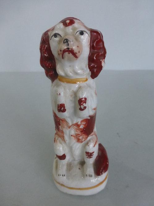 Miniature 19thc.Staffordshire Begging Spaniel c.1850 # 4125