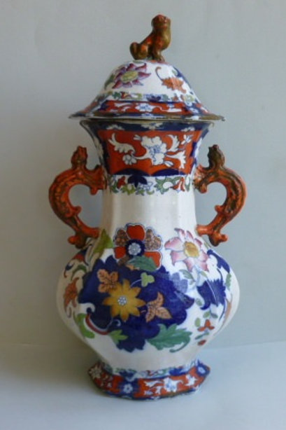 LARGE MASONS STYLE 19THC IRONSTONE VASE WITH COVER