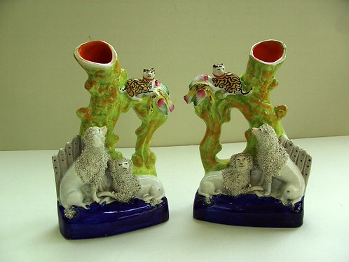 RARE PAIR 19THC STAFFORDSHIRE POODLES AND CATS