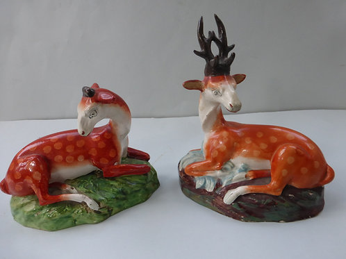 MATCHED PAIR 19THC. PEARLWARE STAG & DOE