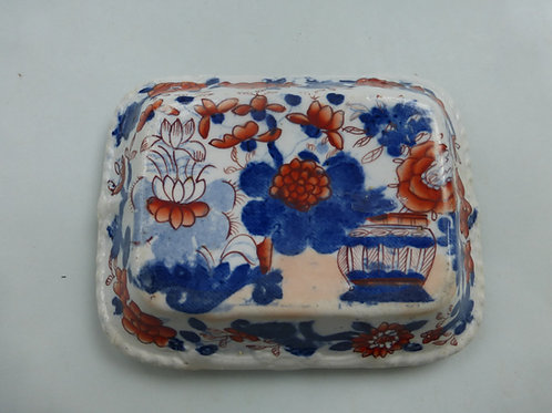 19THC. MASONS IRONSTONE SOAP BOX LID IN IMARI PATTERN C.1830