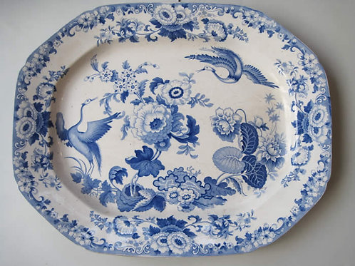 VERY LARGE 19THC STAFFORDSHIRE STONE CHINA BLUE AND WHITE PLATTER