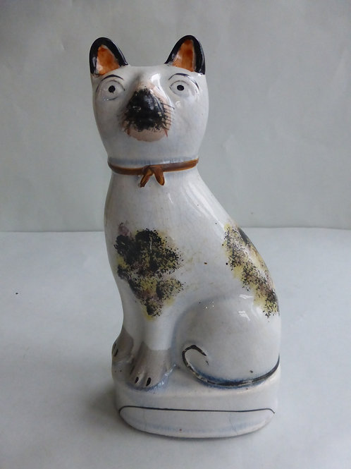 Large 19thc. Staffordshire Cat on plinth base c.1850. Ref # 4486