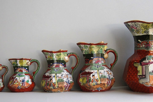 SET 19THC MASONS IRONSTONE JUGS IN RED SCALE PATTERN