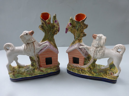 PAIR OF 19THC STAFFORDSHIRE POODLES AND BIRDS