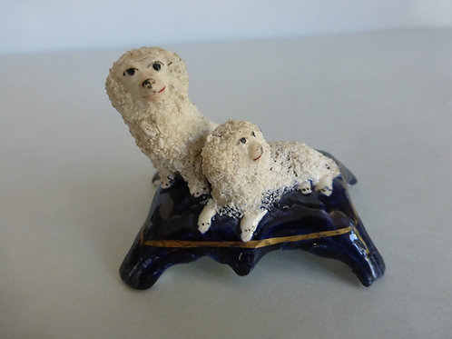 19thc. Miniature Staffordshire of 2 Poodles