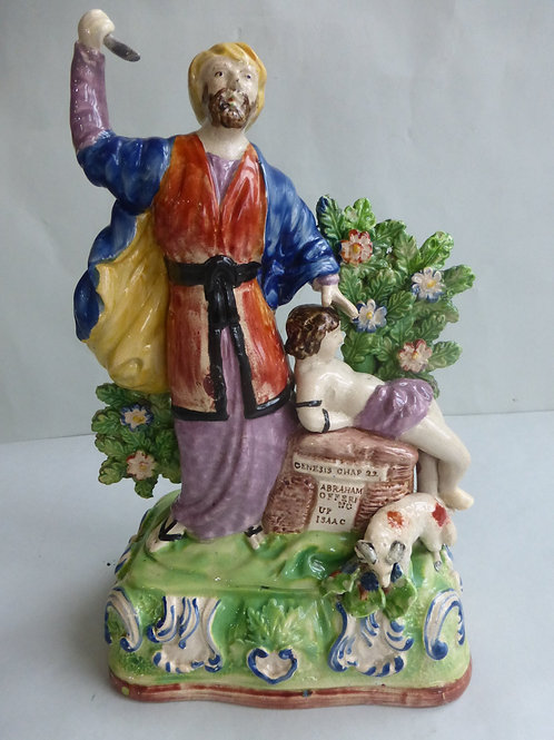 Early 19thc. Staffordshire Pearlware Abraham Sacrificing Isaac Ref # 4447