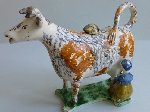 19THC. STAFFORDSHIRE PEARLWARE COW CREAMER
