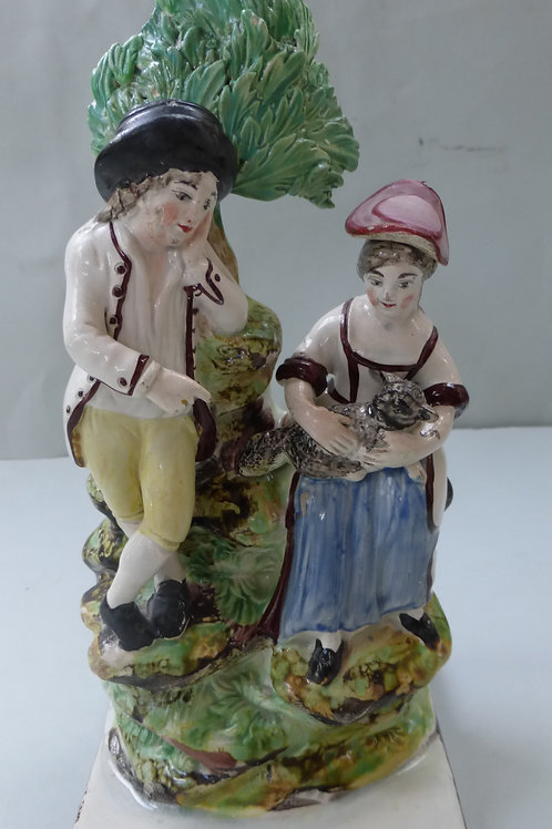 19th C STAFFORDSHIRE PEARLWARE SQUARE BASED OF SHEPHERD AND SHEPHERDESS