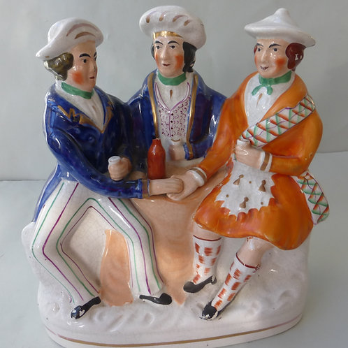 LARGE 19THC. STAFFORDSHIRE FIGURE OF AULD LANG SYNE