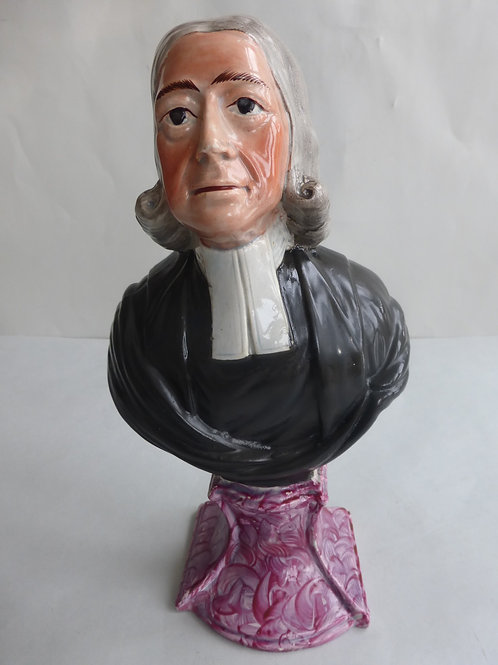 Early 19thc. Pearlware Staffordshire Bust Rev. John Wesley Ref # 4529