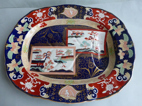 """Large 19thc. Masons/Ashworth Meat Platter with Well c.1890 19.5"""" Ref # 4502"""