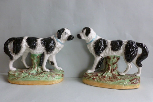 PAIR 19THC STAFFORDSHIRE DOGS NEWFOUNDERLAND BY WILLIAM KENT