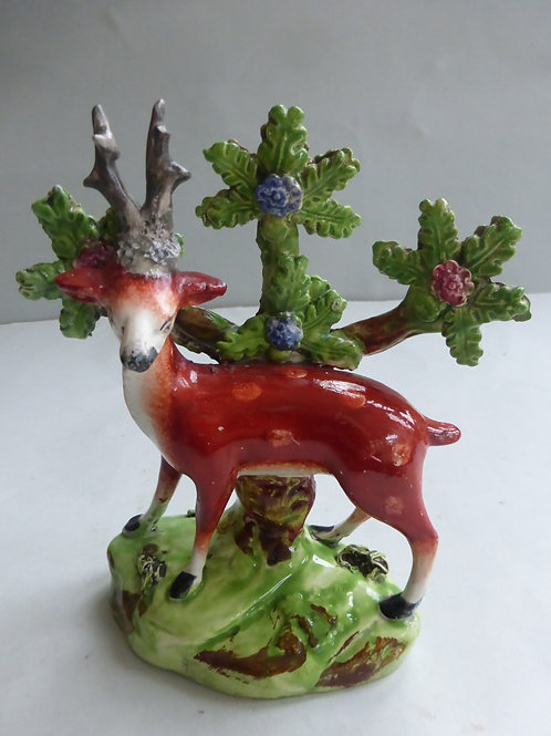 EARLY 19THC STAFFORDSHIRE PEARLWARE GROUP OF STAG