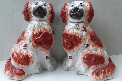 PAIR 19THC STAFFORDSHIRE CHUNKY RED AND WHITE MANTLE DOGS